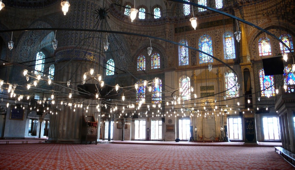 Inside Istanbul's Blue Mosque - where artificial light and architecture converges