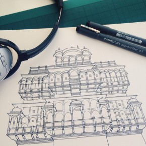 Jaisalmer Palace front elevation - in progress