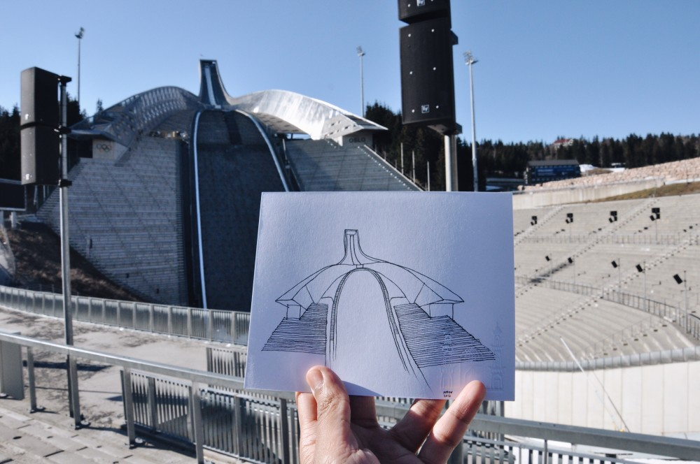 Holmenkollen Ski Jump sketch by Amer TendToTravel