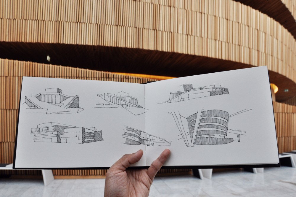 Interior sketches of Oslo Opera House by amer TendToTravel